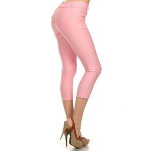 Pants - Women's Skinny Capri Jeggings Stretchy Solid Pink